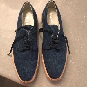 PRADA denim flatform derby Men shoes (size 10 US)